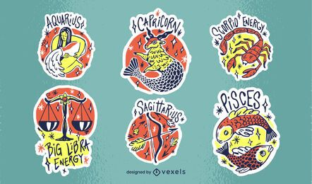 Set of zodiac signs stickers