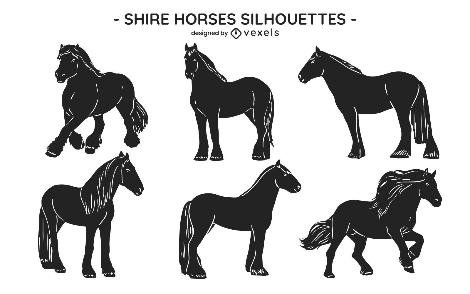 Horse wild animal poses cut out set