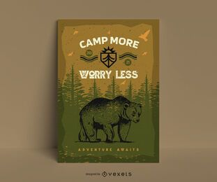 Cool camping bear poster template