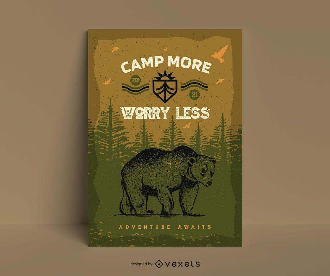 Modelo de pôster legal de urso de acampamento