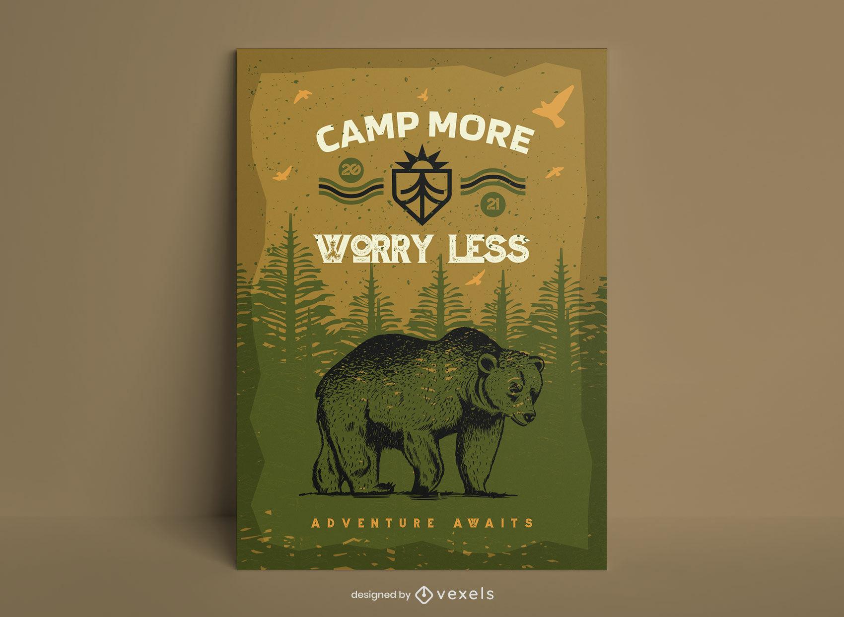 Plantilla fresca del cartel del oso que acampa