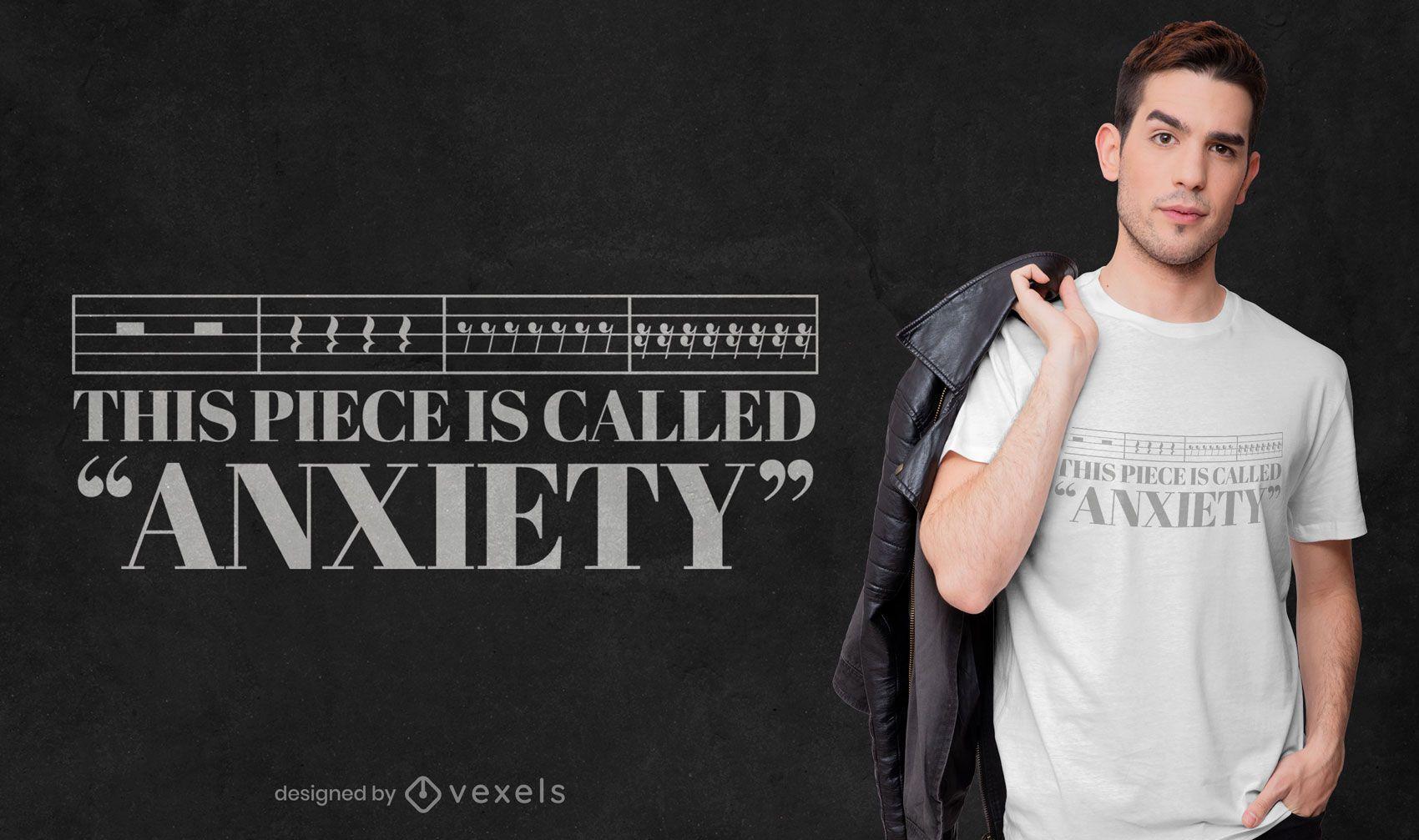 Diseño de camiseta de cita de ansiedad de notas musicales.