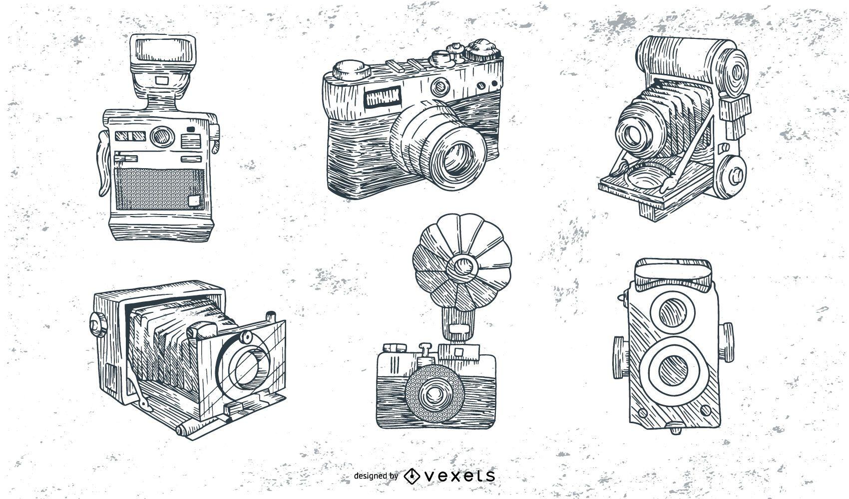 Conjunto de câmeras vintage desenhado à mão