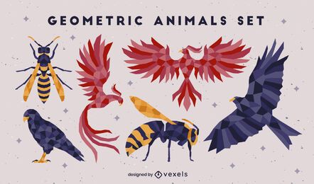 Set of color low poly flying animals