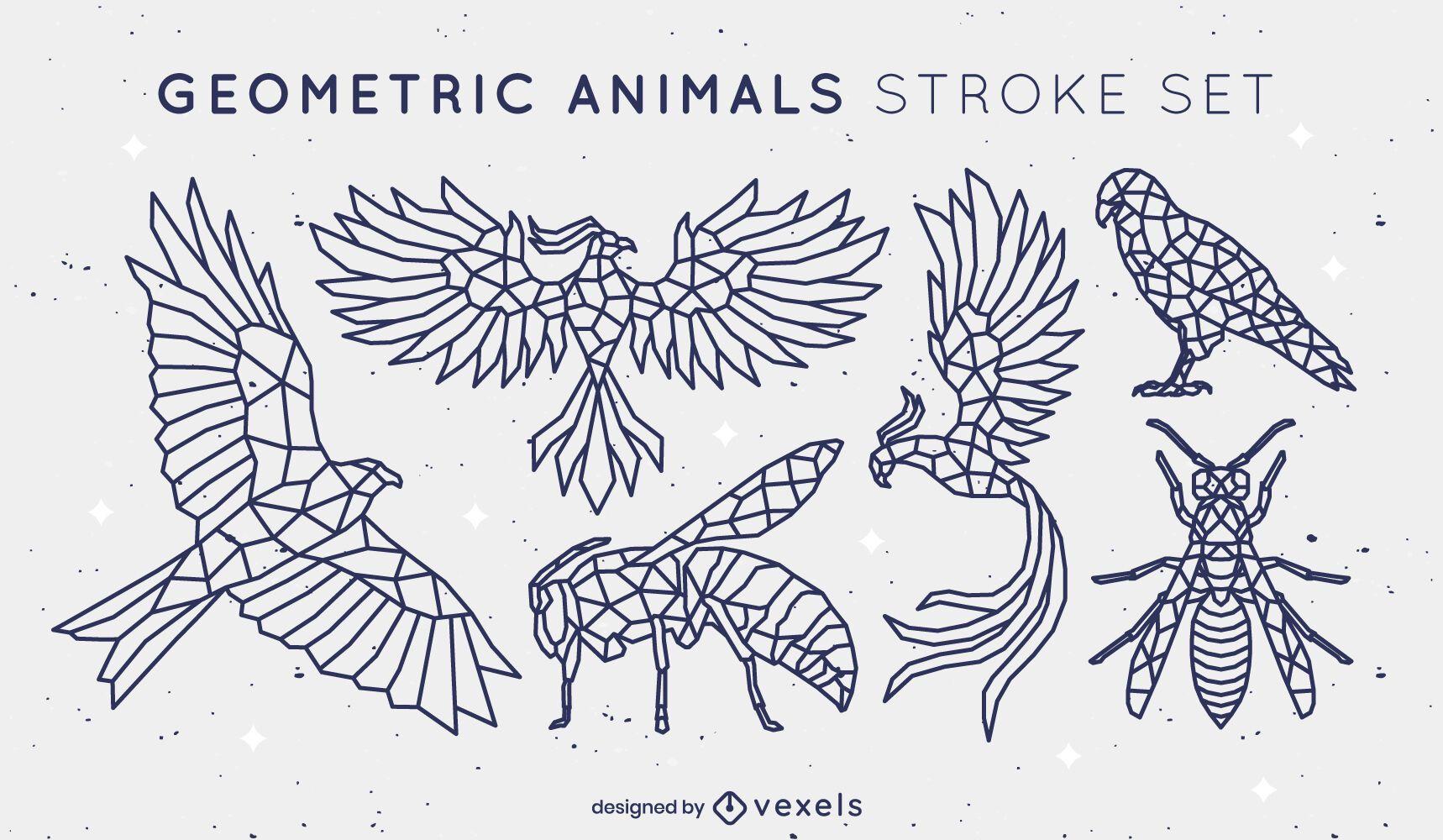 Conjunto de trazo poligonal de animales voladores.