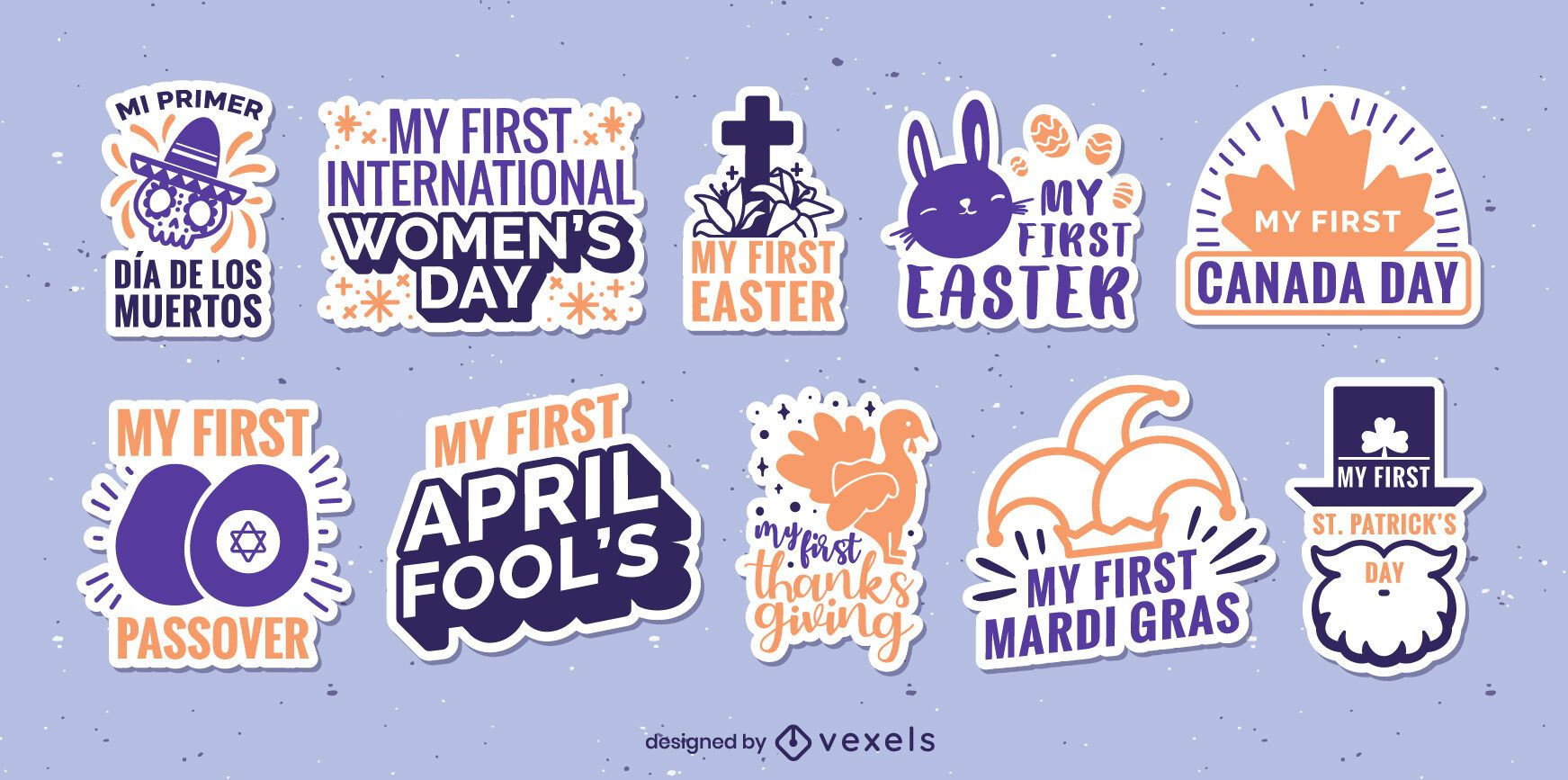 Set of first festivals stickers