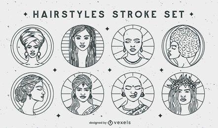 Hairstyles stroke set of badges
