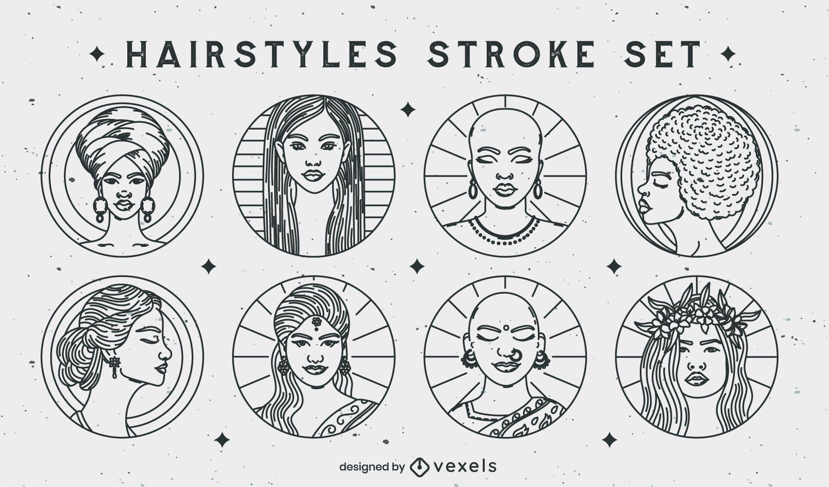 Conjunto de trazos de peinados de insignias