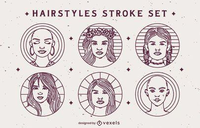 Conjunto de insignias de peinado de trazo