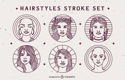 Stroke hairstyle badges set