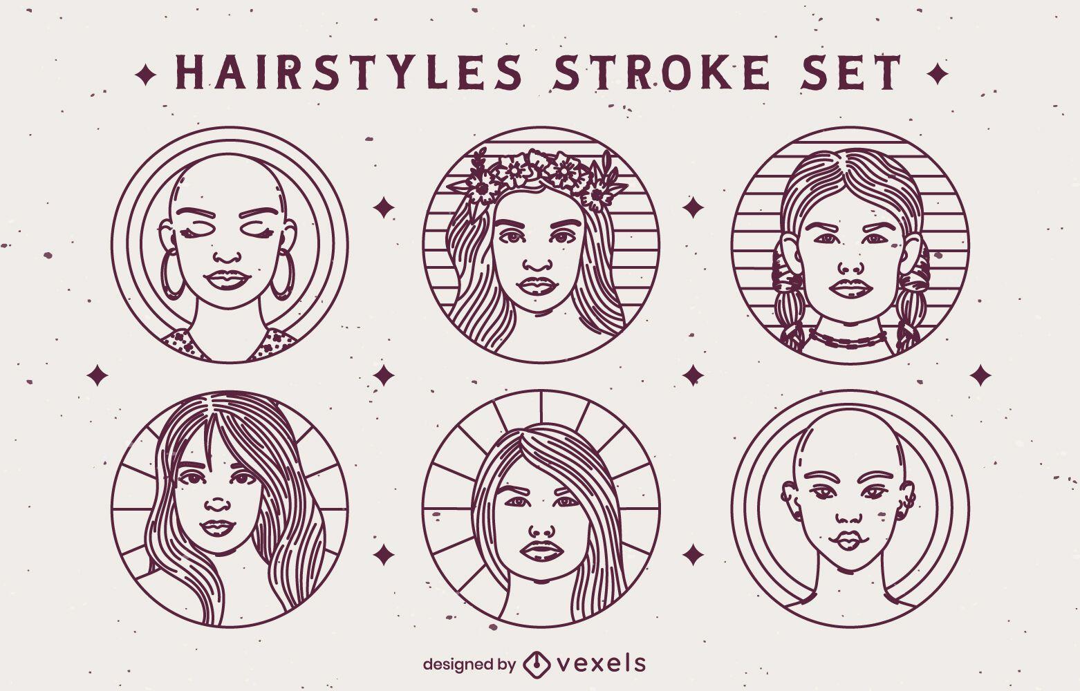 Conjunto de emblemas de penteado com traços