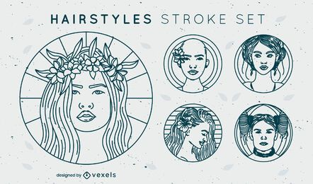 Simple set of stroke hairstyle badges