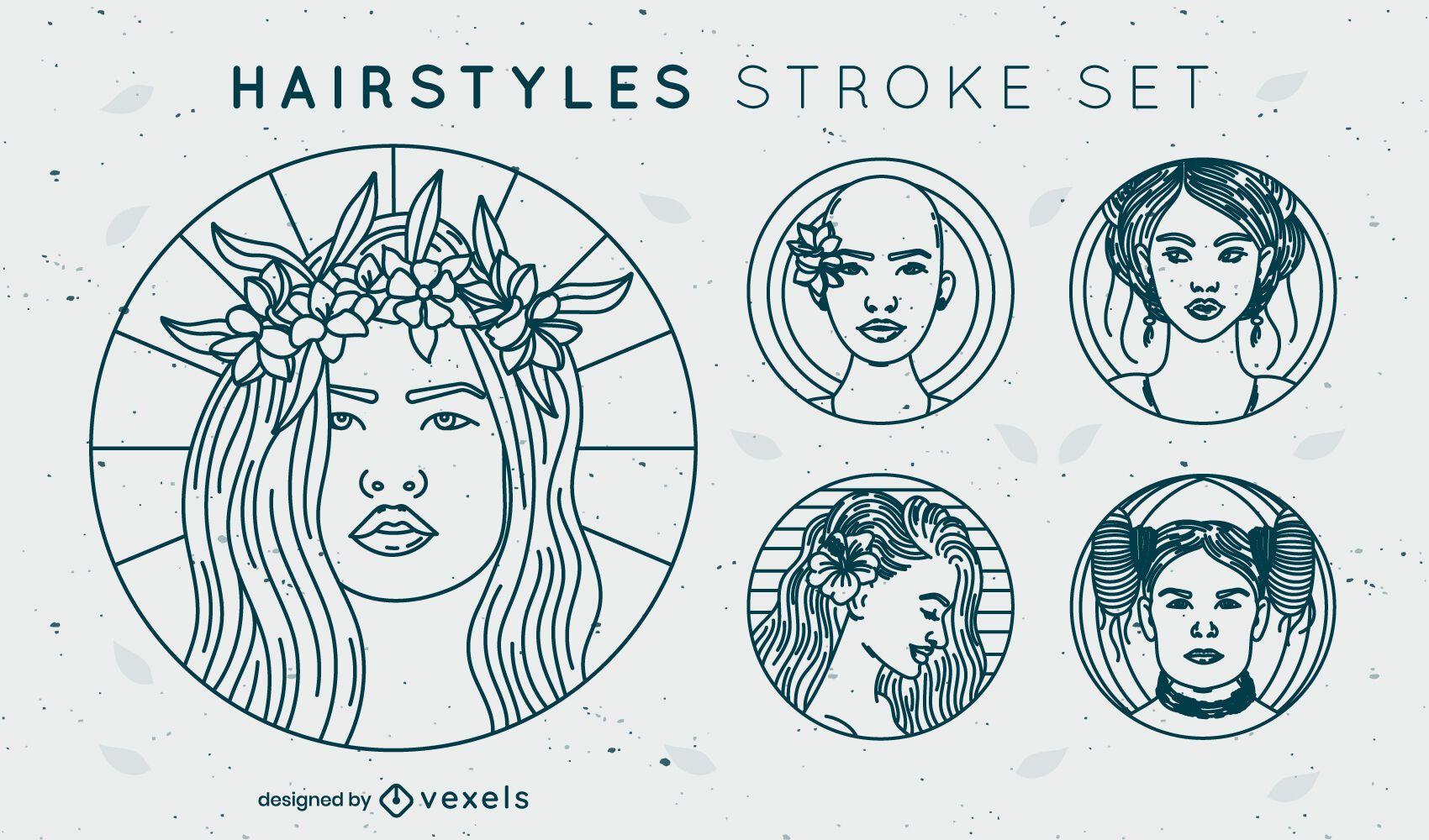 Conjunto simples de emblemas de penteado com traços