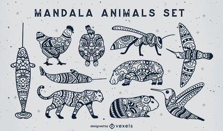 Conjunto de animales de trazo lleno de mandala.
