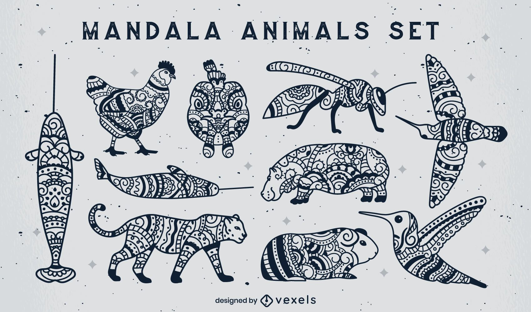 Conjunto de animais de traço preenchidos com mandala