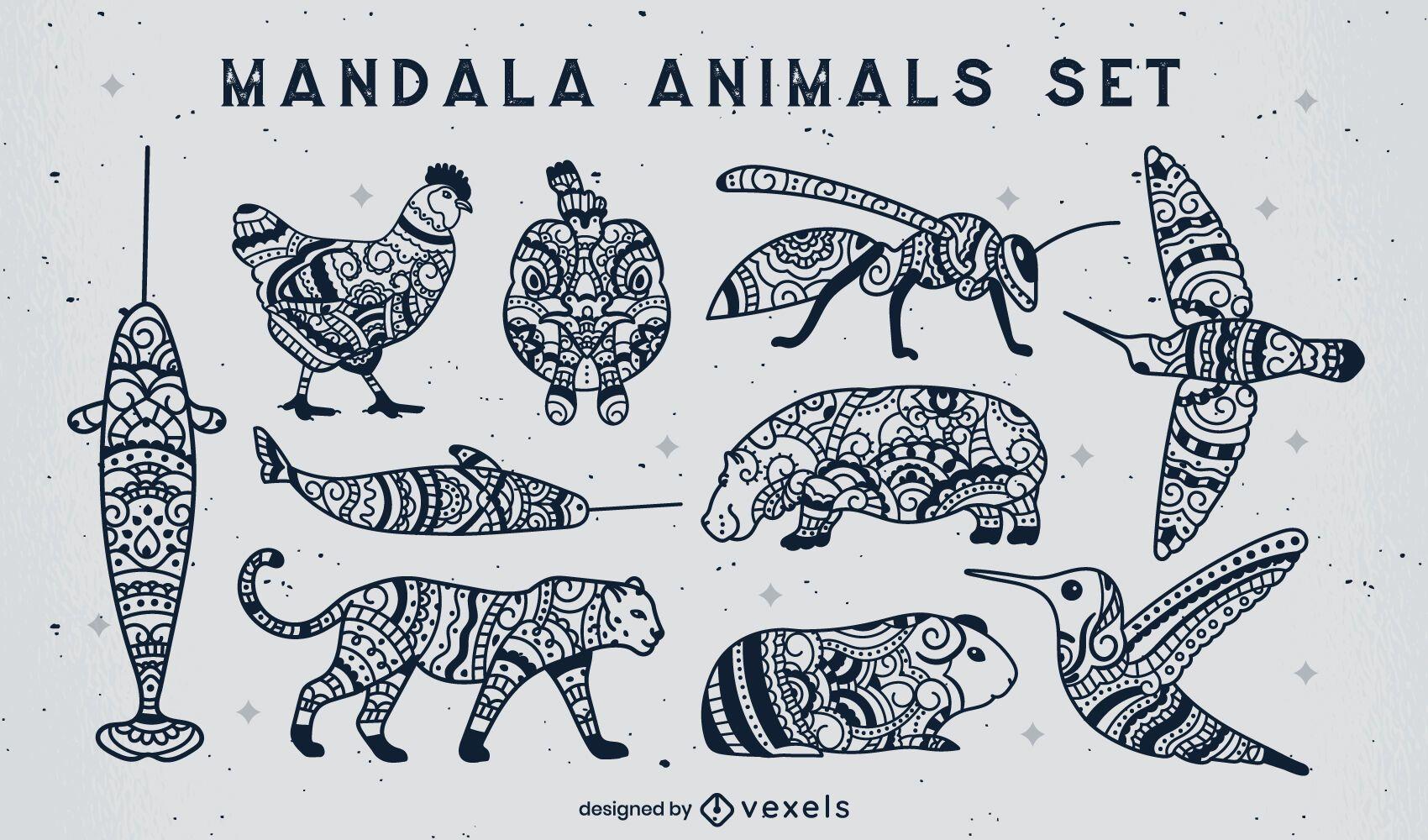 Set Mandala gefüllte Strichtiere