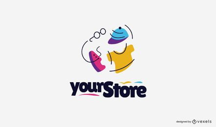 Flat clothing store logo template