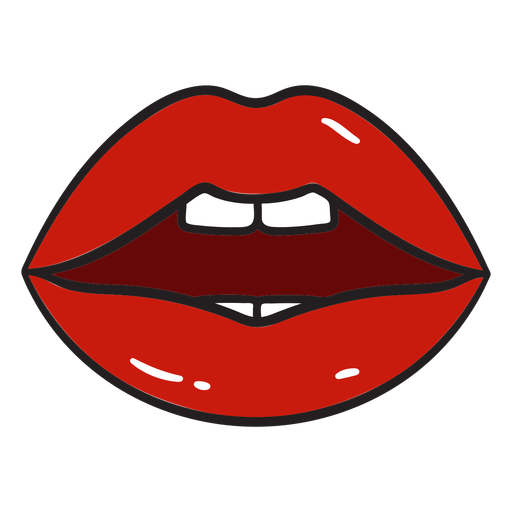 Red glossy lips color stroke