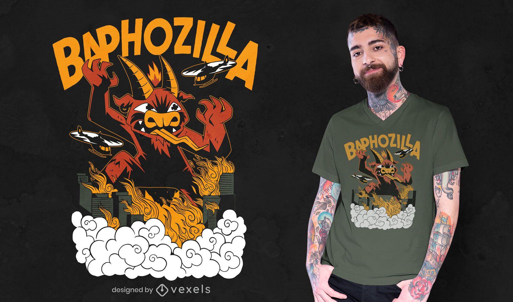 Diseño de camiseta de ataque de ciudad de monstruo de cabra.