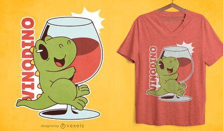Cute dinosaur wine glass t-shirt design