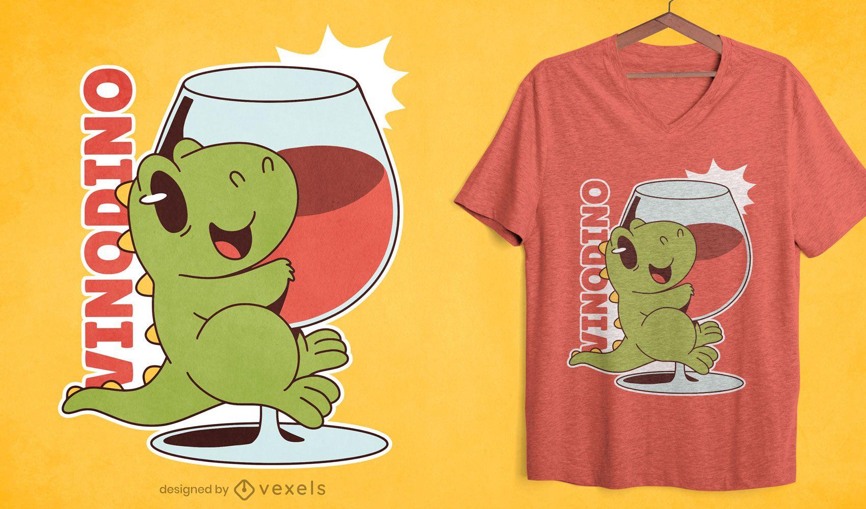 Design fofo de t-shirt com copo de vinho de dinossauro