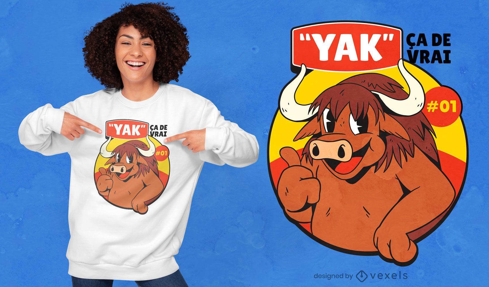 Desenho de t-shirt de desenho animado feliz yak quote
