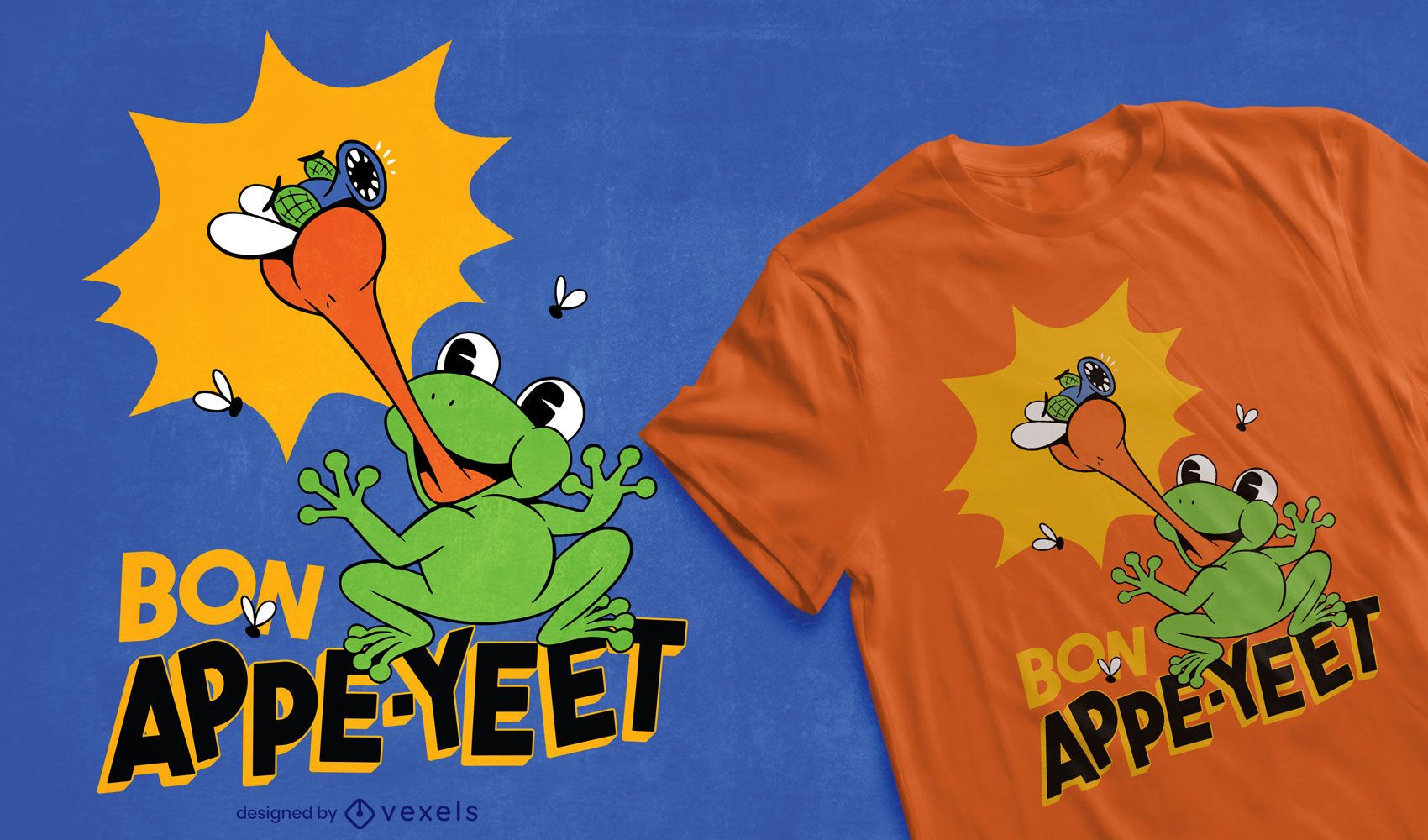 Frog catching fly cartoon t-shirt design