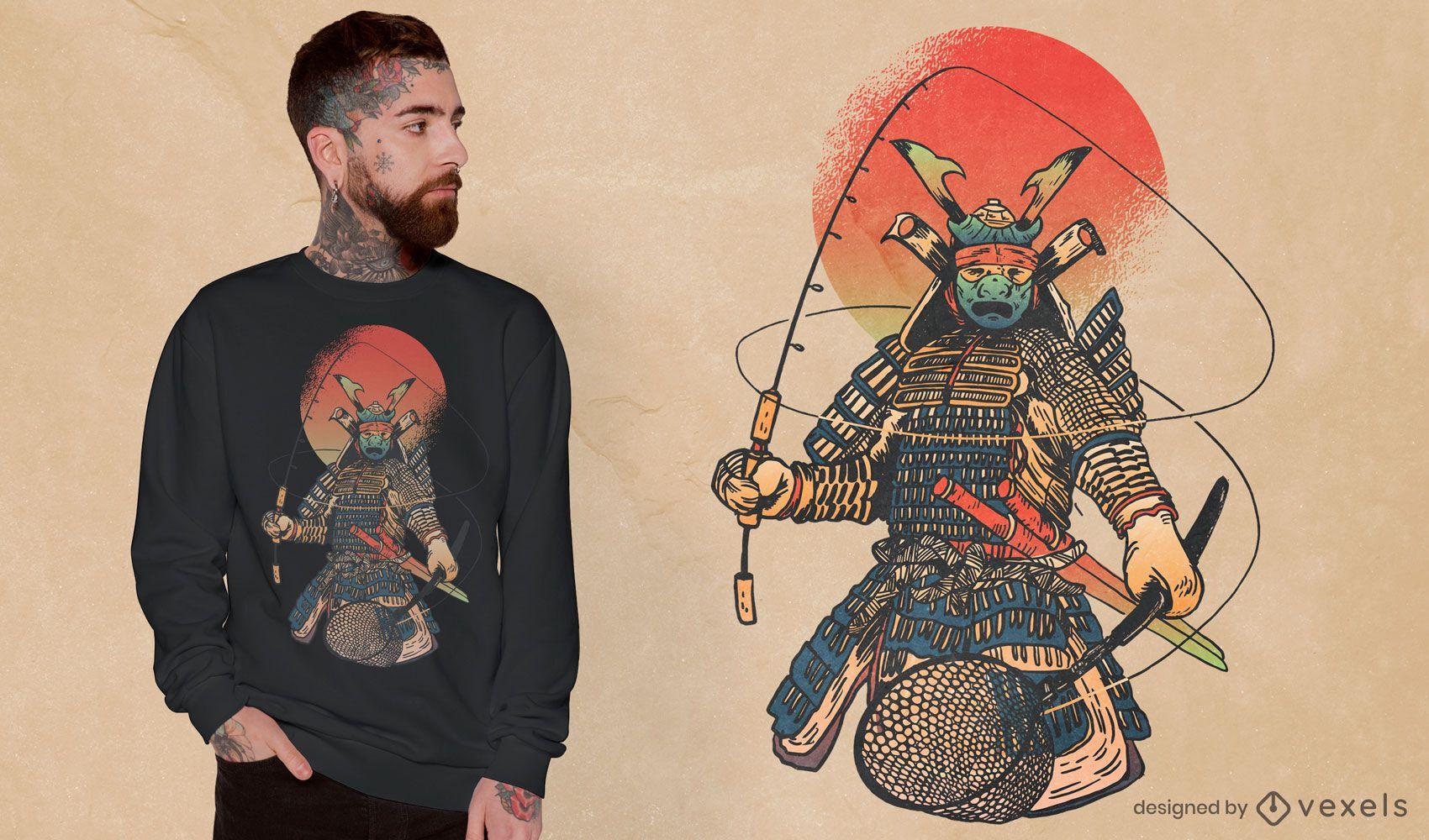Design de camiseta de pesca guerreiro samurai