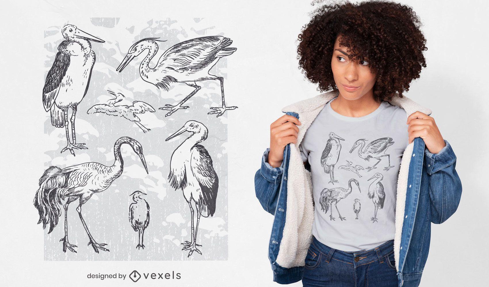 Diseño de camiseta de aves animales dibujados a mano.