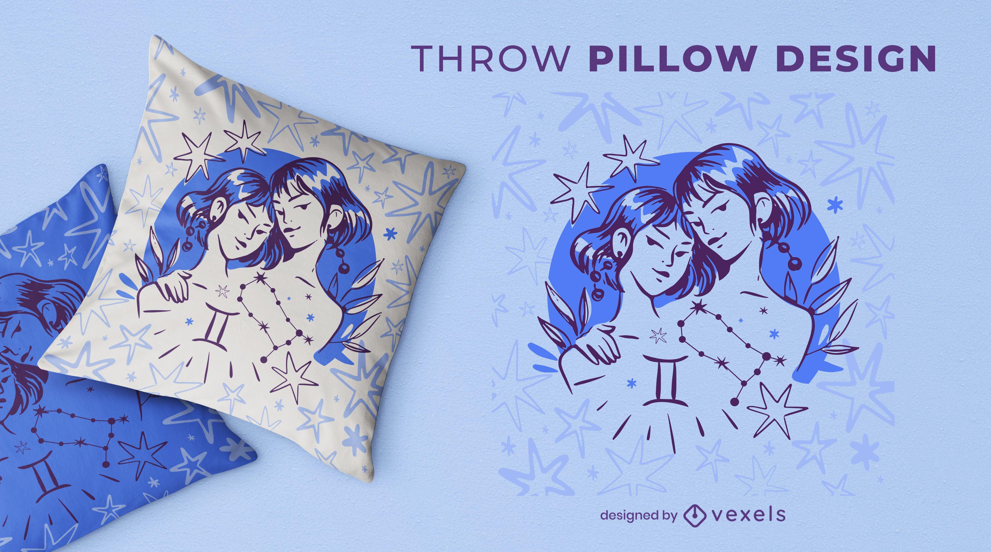 Gemini zodiac throw pillow design