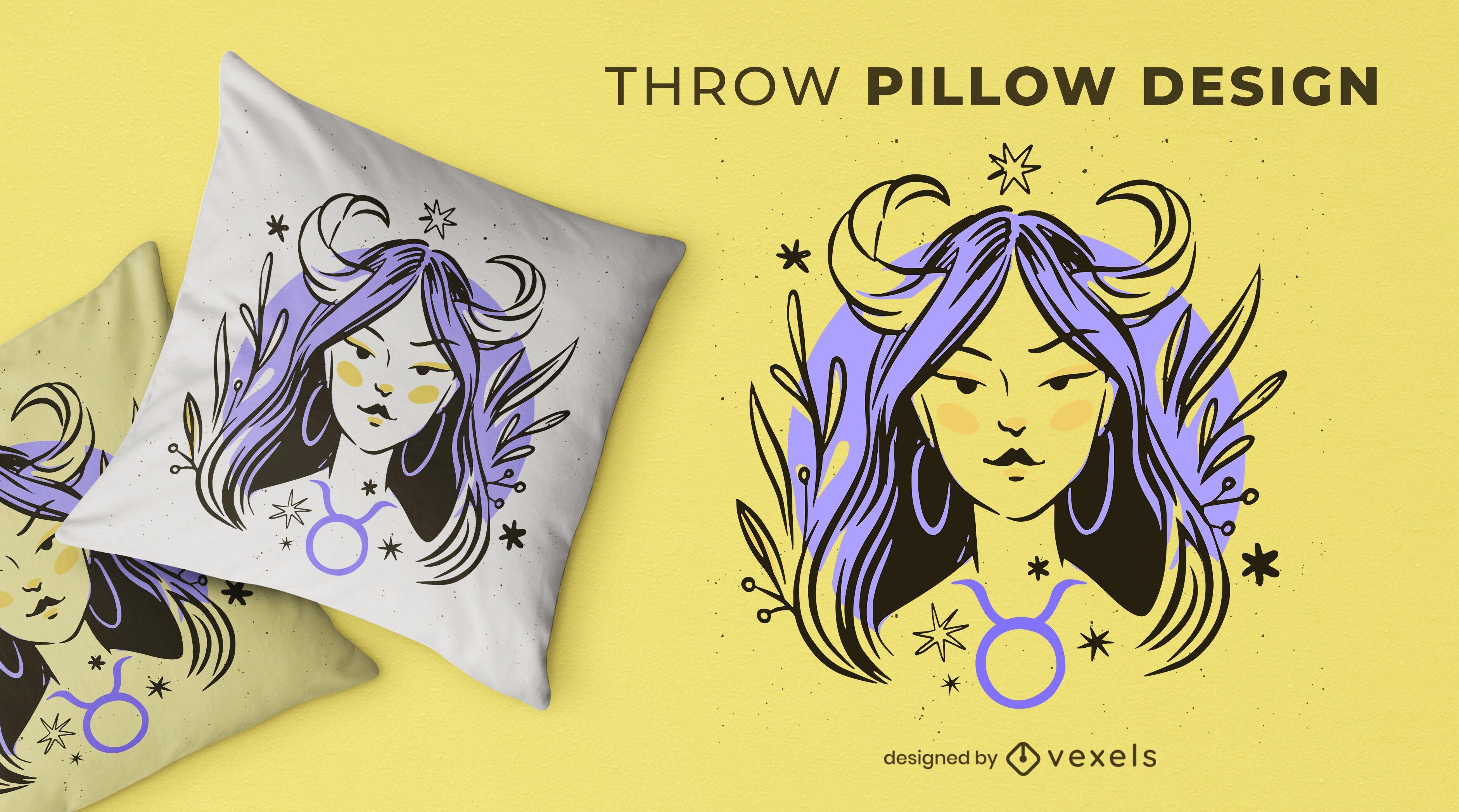 Diseño de almohada de tiro del zodiaco Tauro