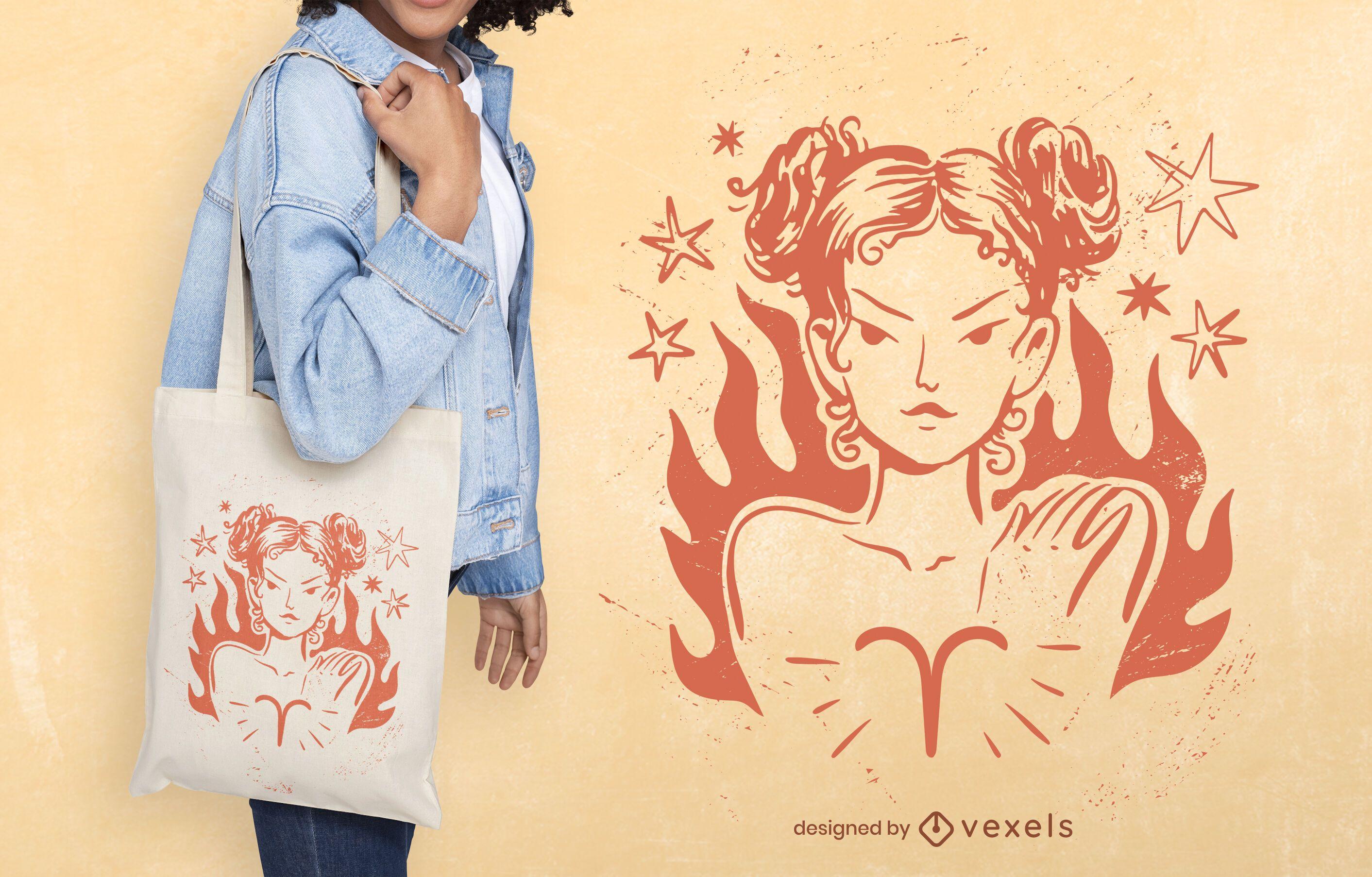 Aries zodiac tote bag design