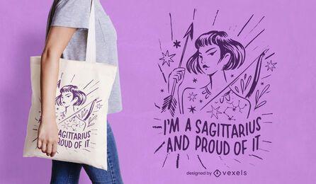 Sagittarius zodiac tote bag design