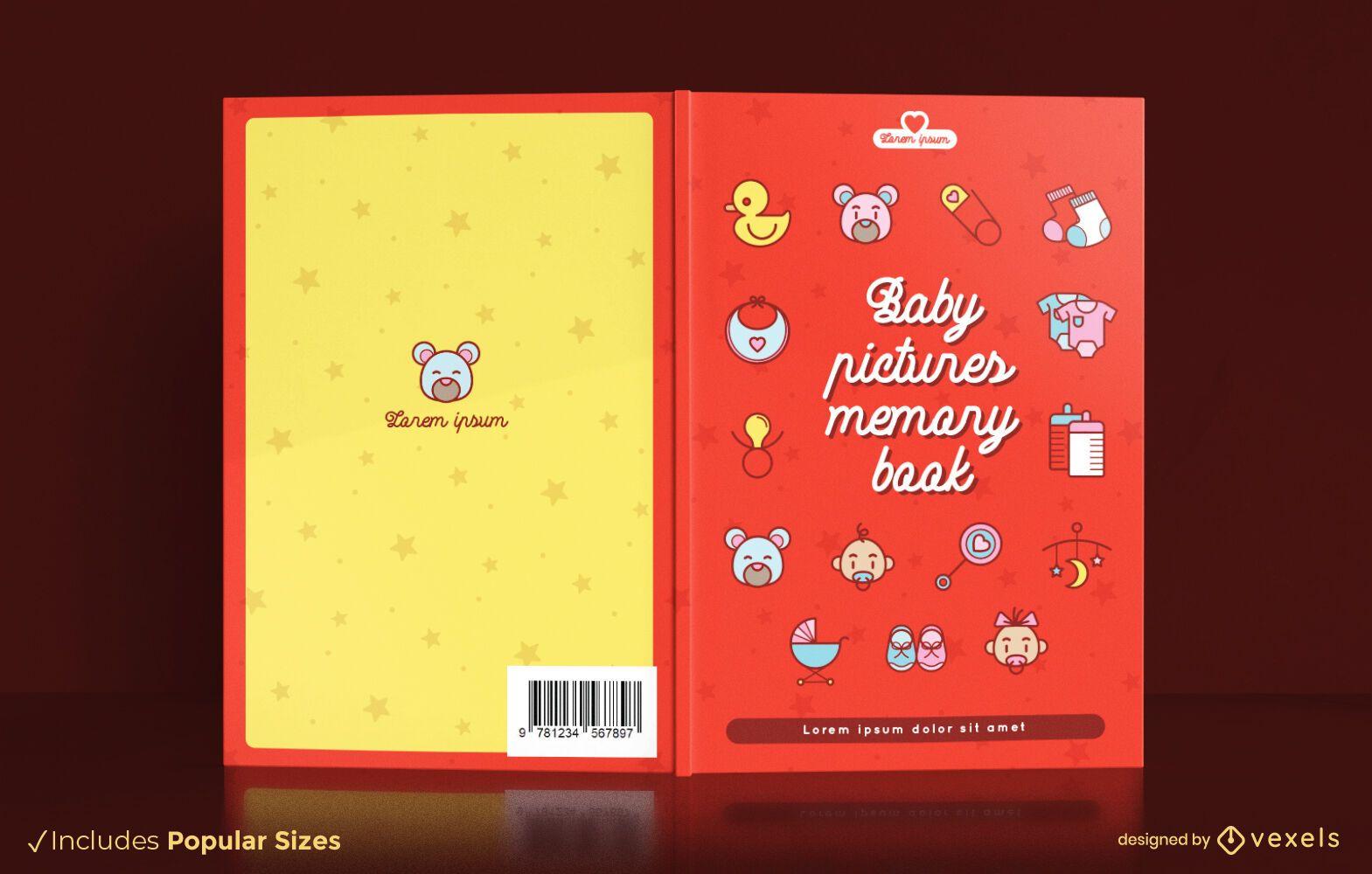 Design de capa de livro com fotos de bebês