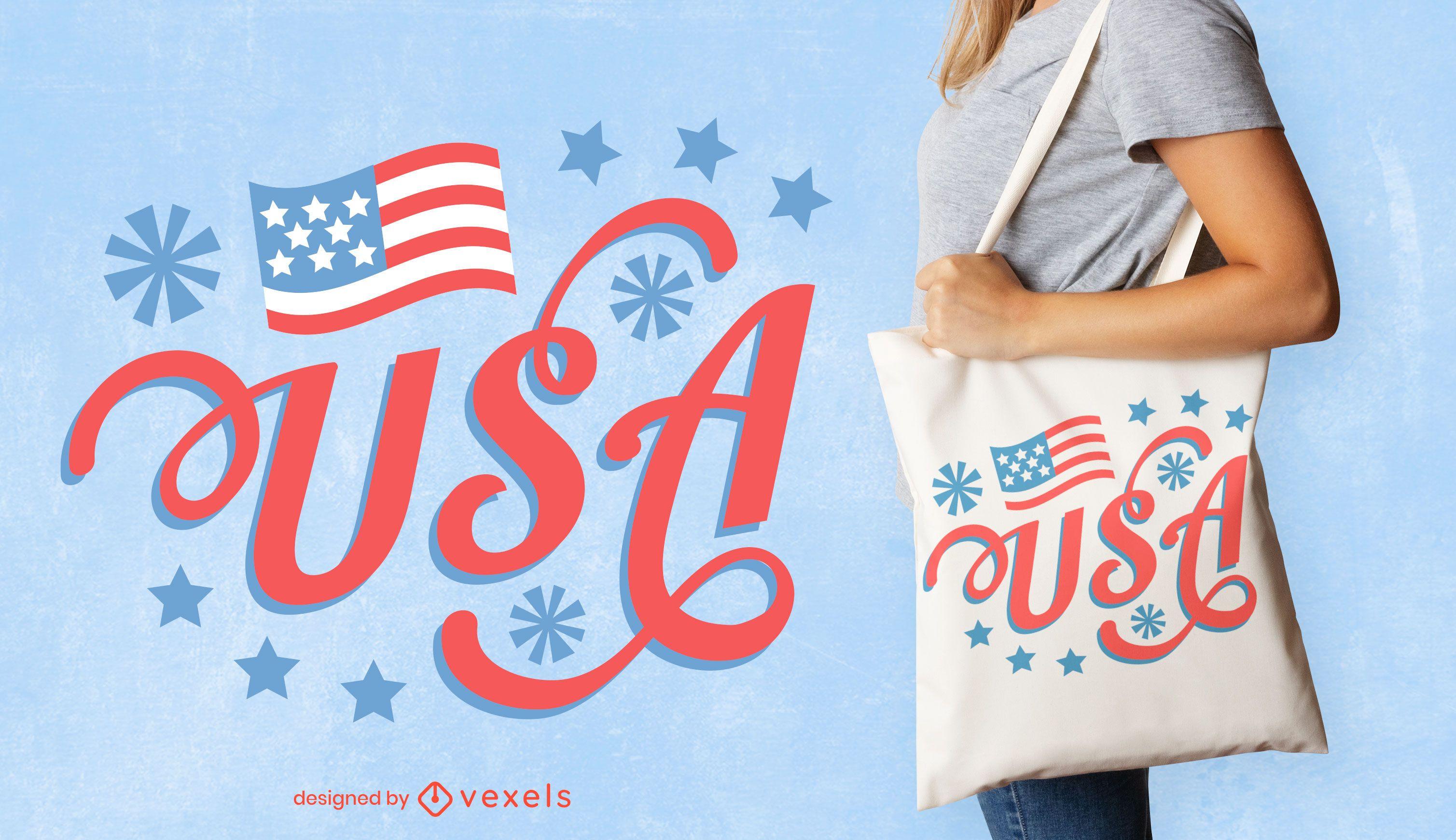 Design de sacola com letras dos EUA