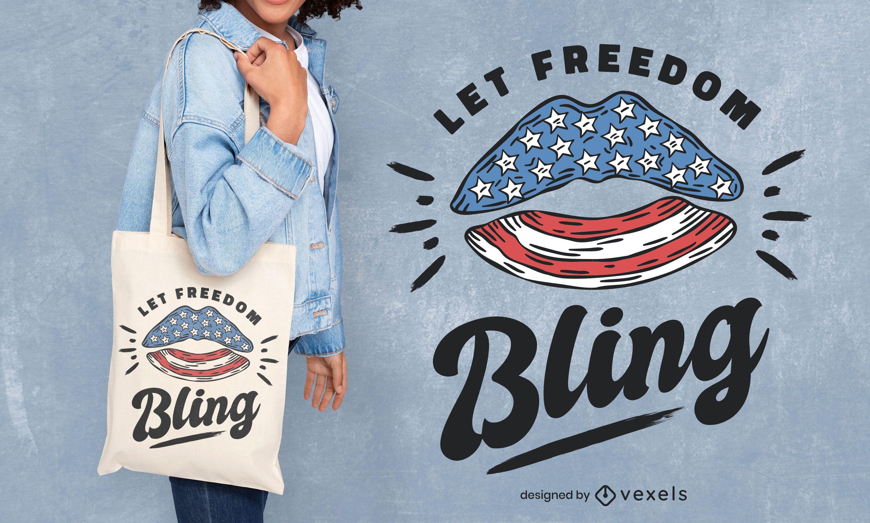 Deja que el diseño de la bolsa de asas bling freedom