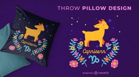 Desenho de travesseiro do signo do zodíaco de Capricórnio