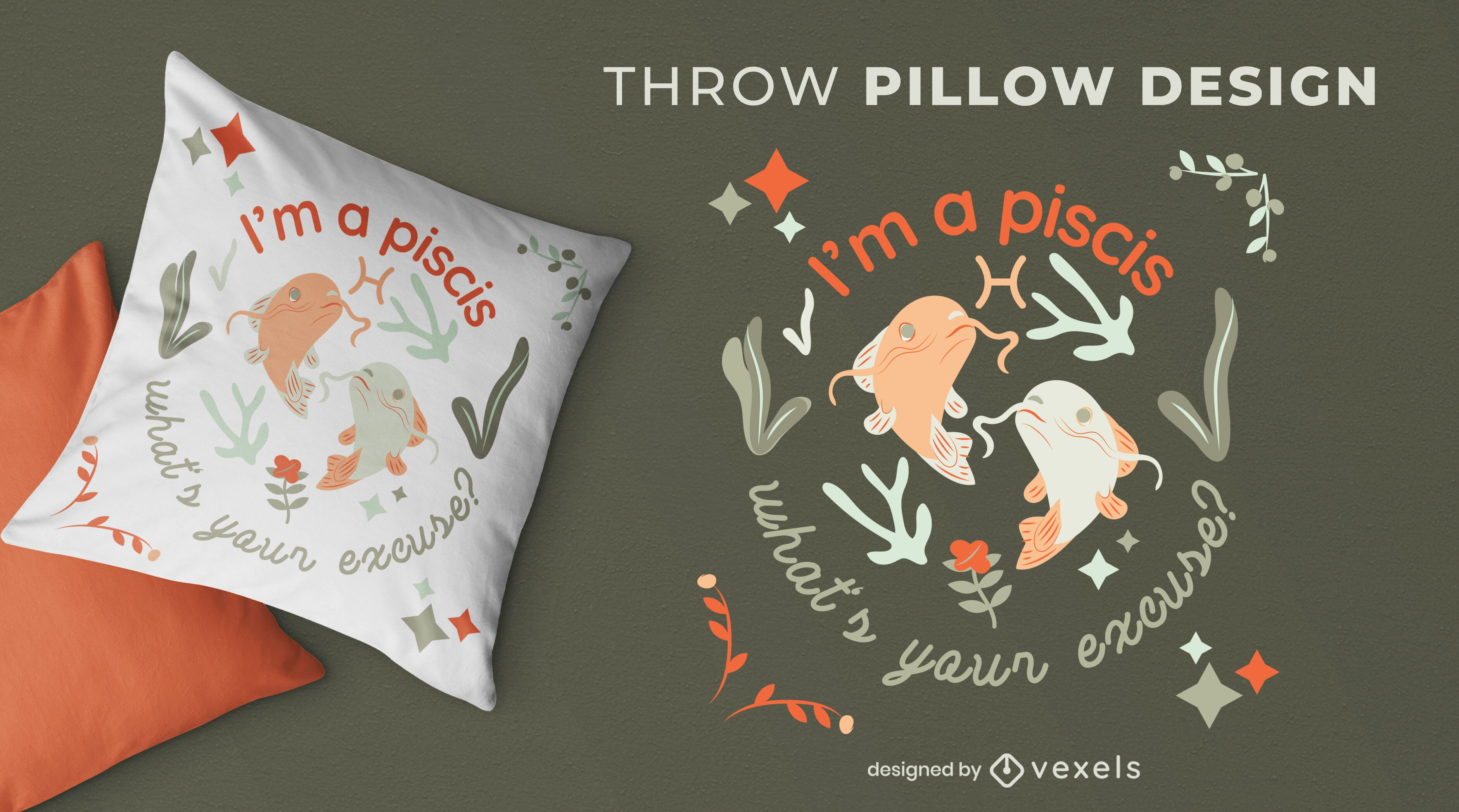 Diseño de almohada de tiro del zodiaco Piscis