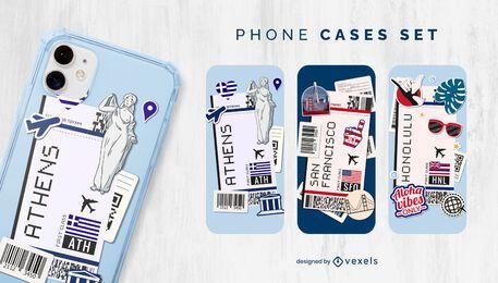 Conjunto de caja de teléfono de ciudades de tarjeta de embarque de avión