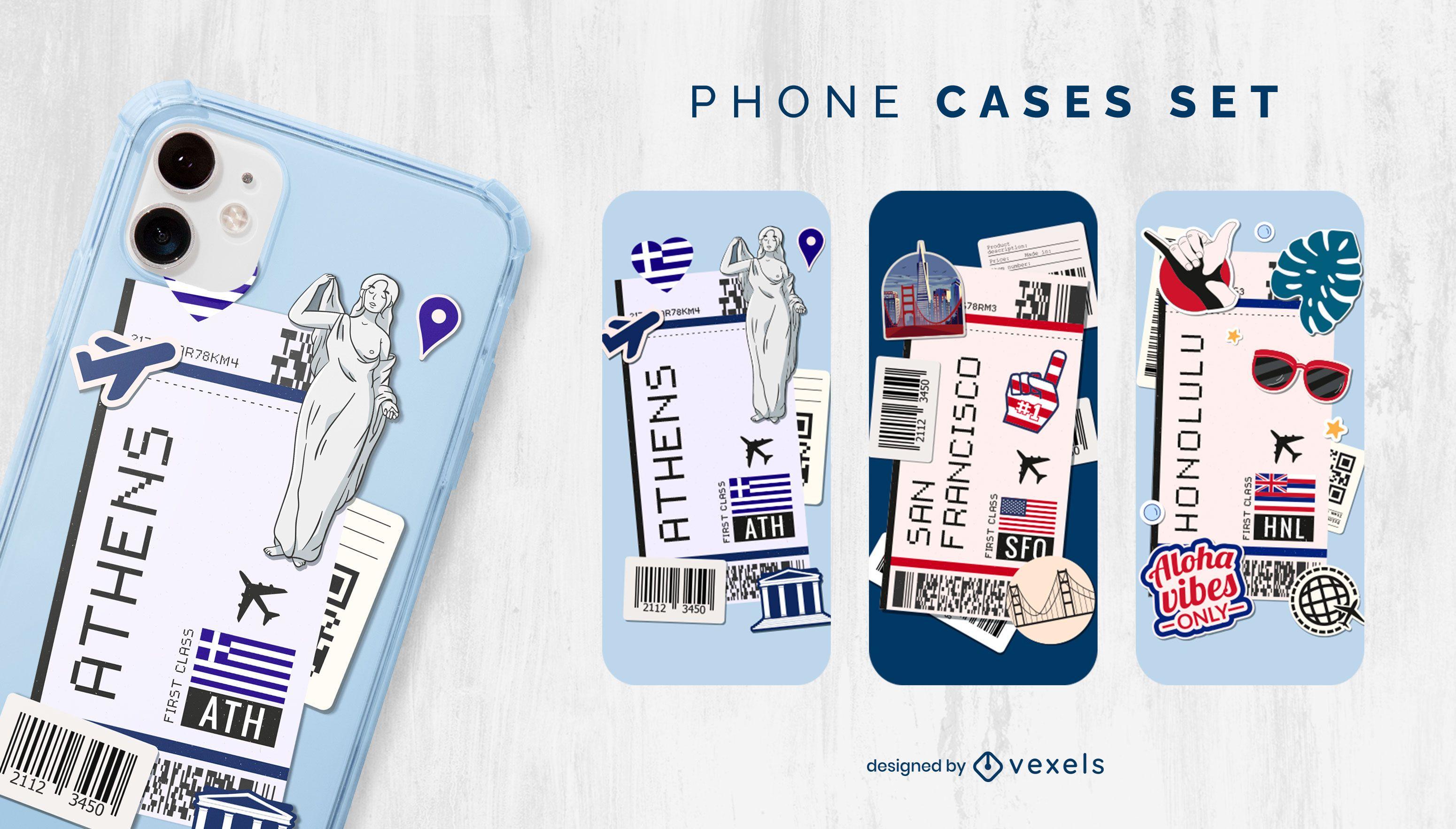Plane boarding pass cities phone case set