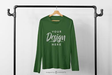 Long sleeve t-shirt on rack mockup