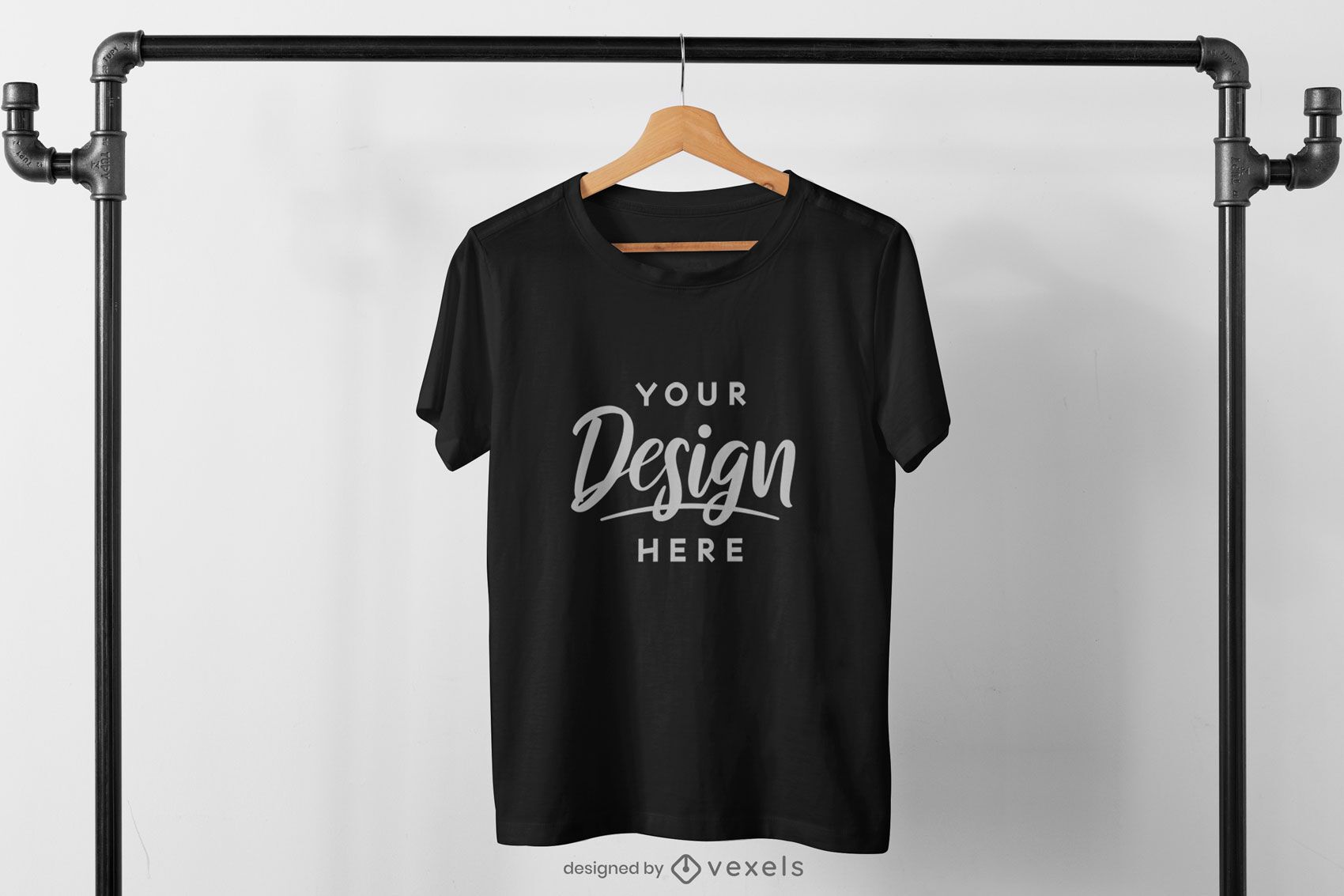 T-shirt hanging from pipes mockup design