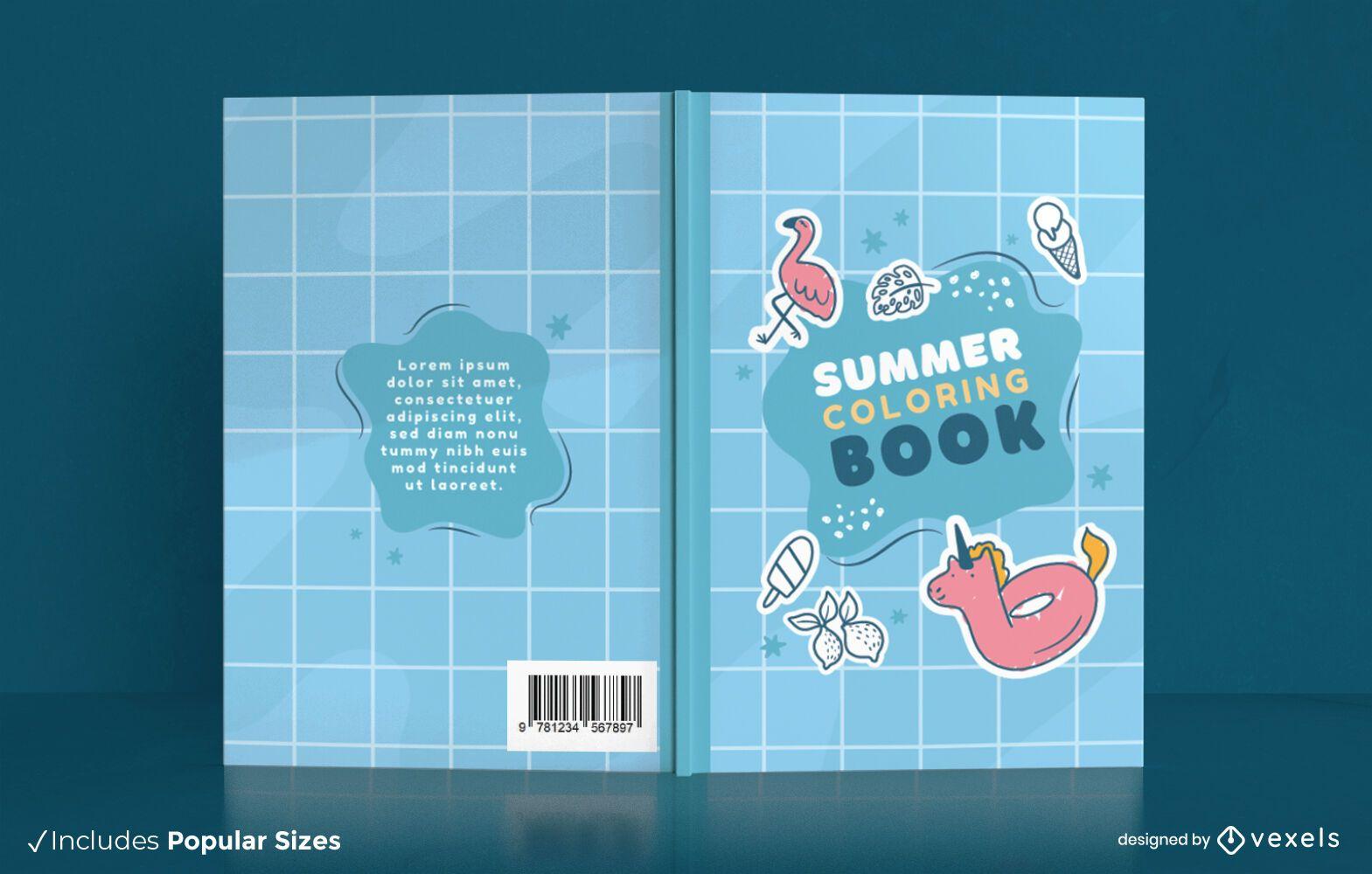 Dise?o de portada de libro para colorear de temporada de verano