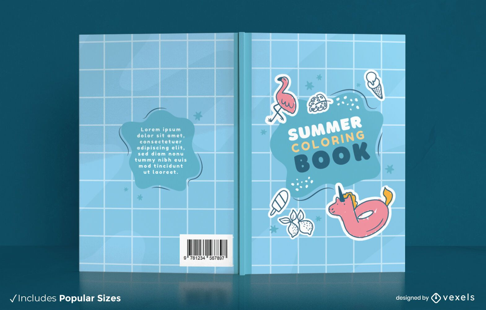 Summer season coloring book cover design