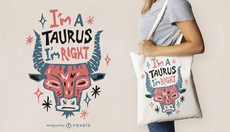 Diseño de la bolsa de asas del zodiaco Tauro