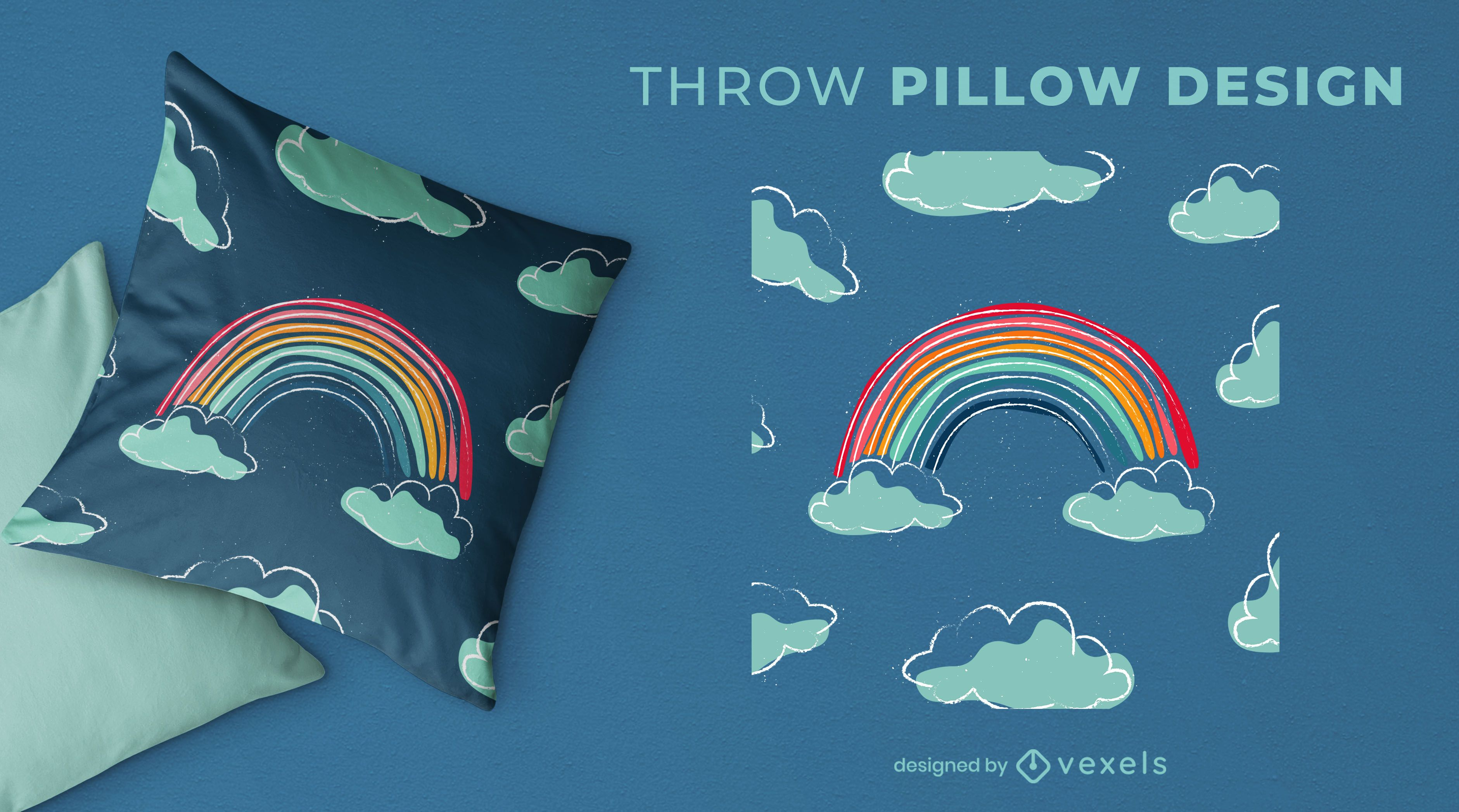 Hand drawn rainbow throw pillow design