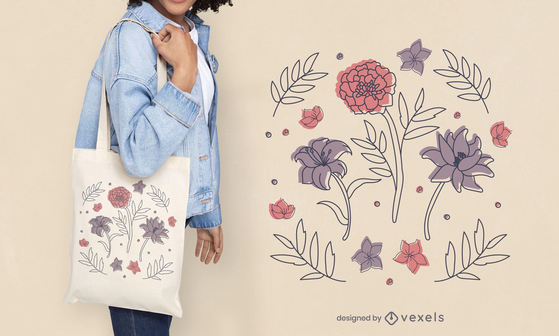 Flores e enfeites coloridos com desenho de sacola