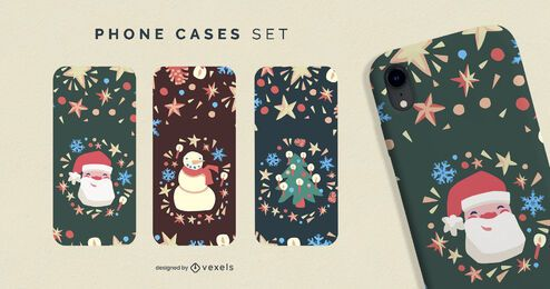Weihnachtshalbflaches Handyhüllen-Set