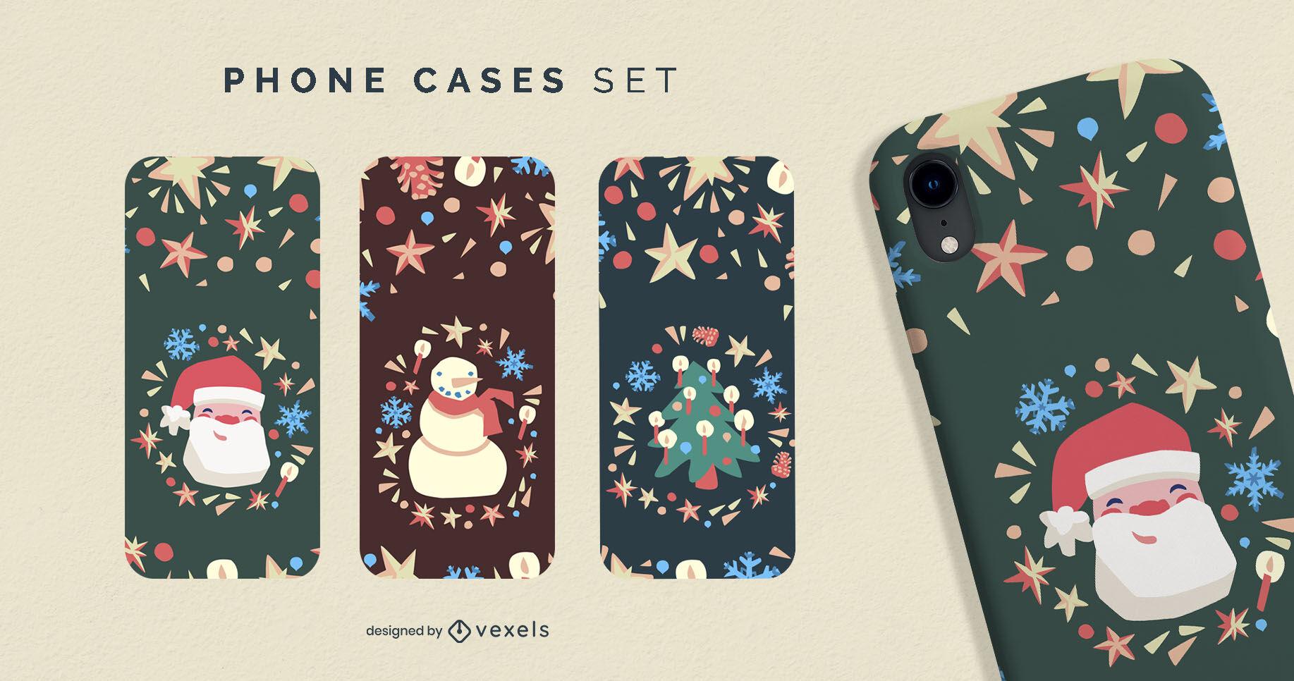 Set de cajas de teléfono semi planas navideñas