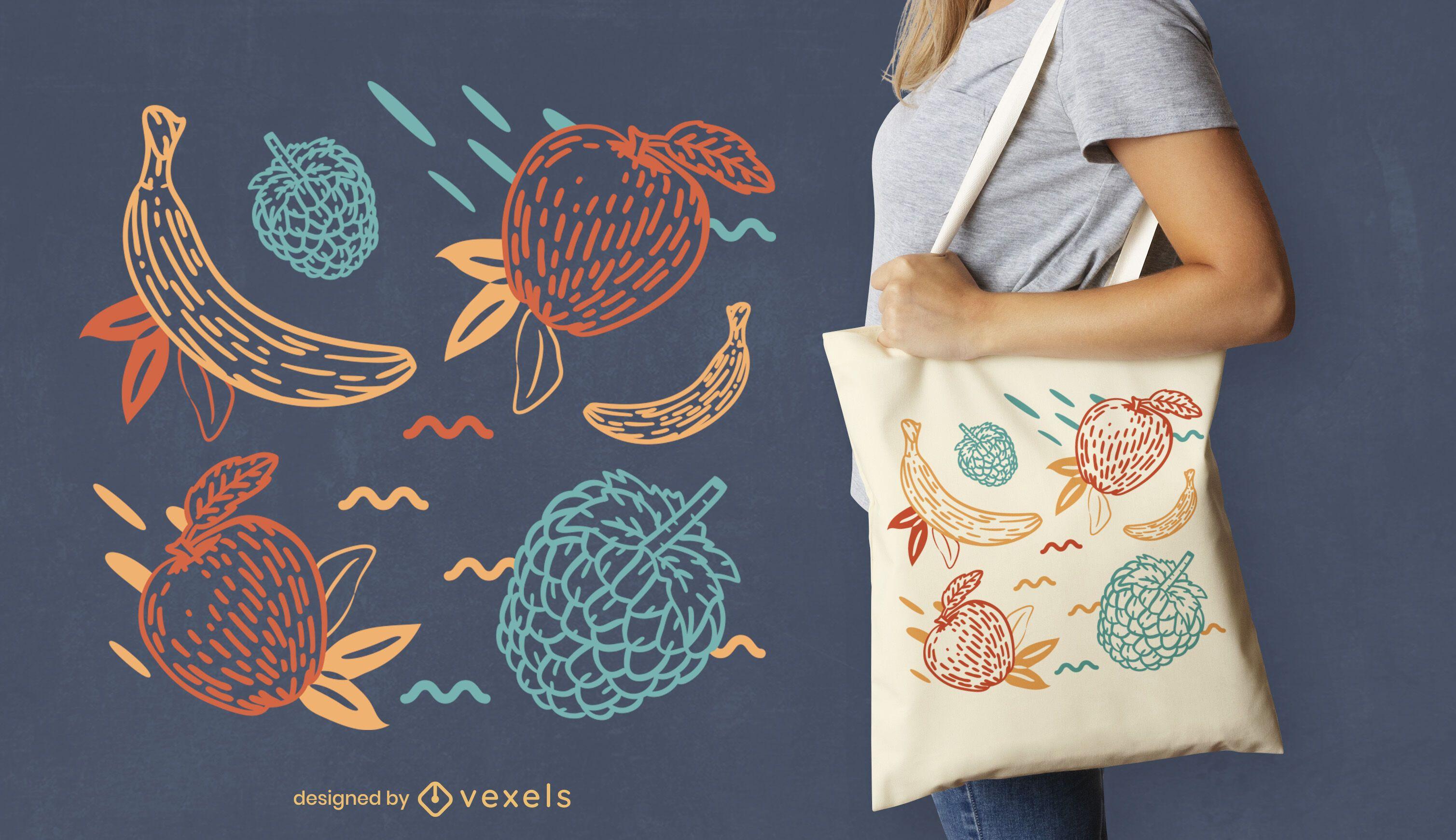 Desenho de sacola desenhada à mão de frutas